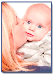 Portrait of Hannah with her baby